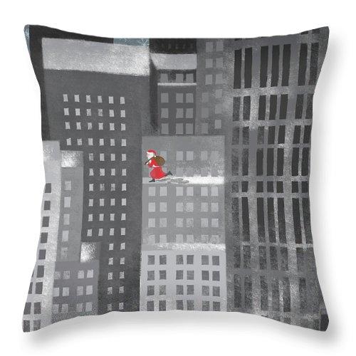 Shadow Throw Pillow featuring the digital art Santa Clause Running On A Skyscraper by Jutta Kuss