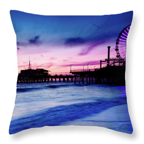 Commercial Dock Throw Pillow featuring the photograph Santa Monica Pier With Ferris Wheel by Pawel.gaul