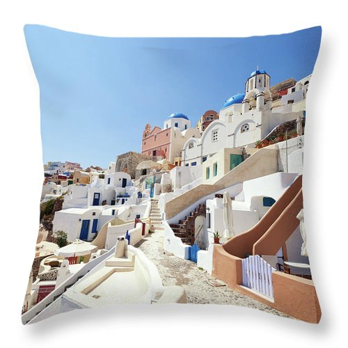 Steps Throw Pillow featuring the photograph Santorini, Churches And Houses by Richmatts