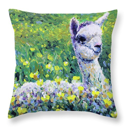 Alpaca Throw Pillow featuring the painting Sapphire by Bari Rhys