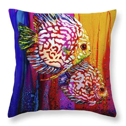 Sea Turtle Throw Pillow featuring the painting Sassy Sea Sisters by Linda Eader