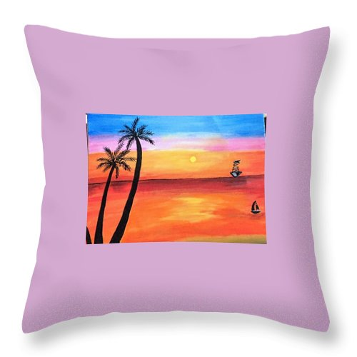 Canvas Throw Pillow featuring the painting Scenary by Aswini Moraikat Surendran