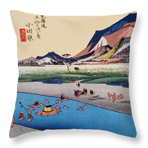 Grass Family Throw Pillow featuring the digital art Scenery Of Odawara In Edo Period by Daj