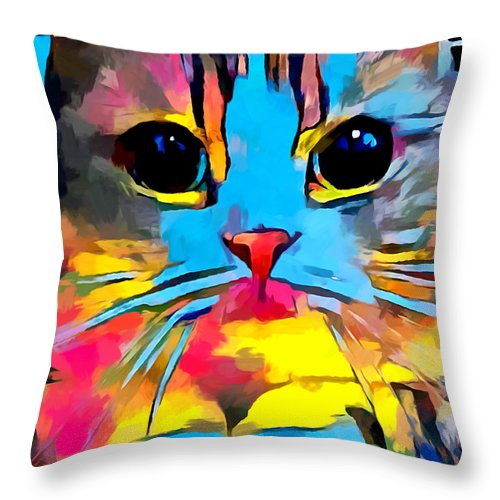 Scottish Fold Throw Pillow featuring the painting Scottish Fold by Chris Butler
