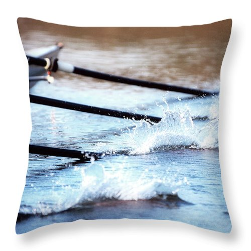 Sport Rowing Throw Pillow featuring the photograph Sculling Team Rowing On Water by Robert Llewellyn