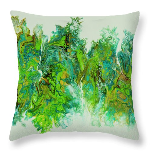 Poured Acrylic Throw Pillow featuring the painting Sea Lettuce Creature by Lucy Arnold