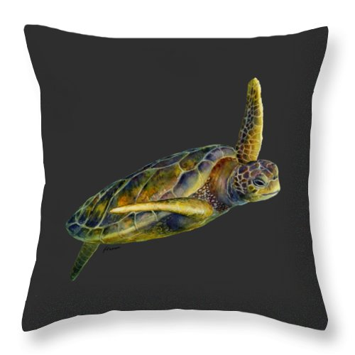 Underwater Throw Pillow featuring the painting Sea Turtle 2-Solid background by Hailey E Herrera