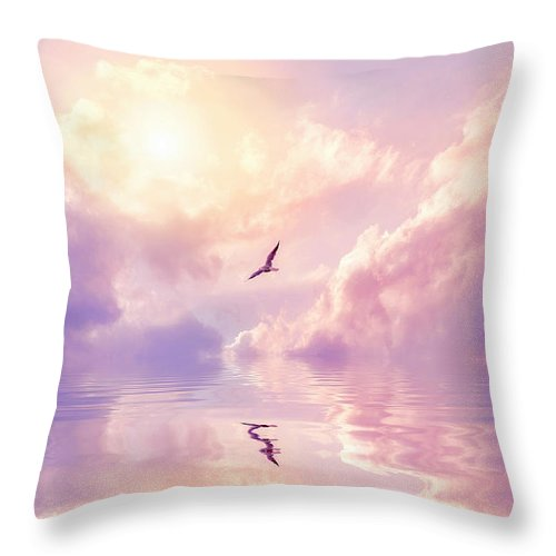 Fairy Tale Throw Pillow featuring the photograph Seagull And Violet Clouds by Jane Khomi