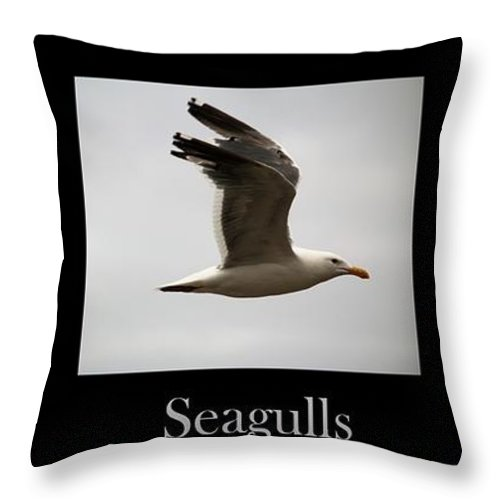 Seagulls Throw Pillow featuring the photograph Seagulls by Nick Gustafson