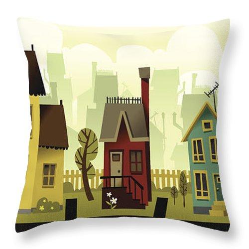 Grass Throw Pillow featuring the digital art Seamless Neighborhood by Doodlemachine
