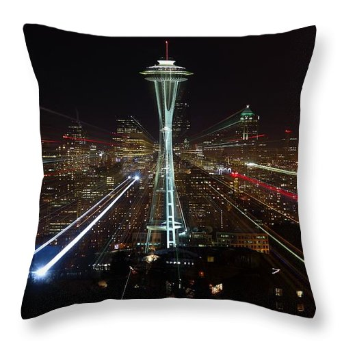 Laser Throw Pillow featuring the photograph Seattle Skyline Laser Show by Jonkman Photography
