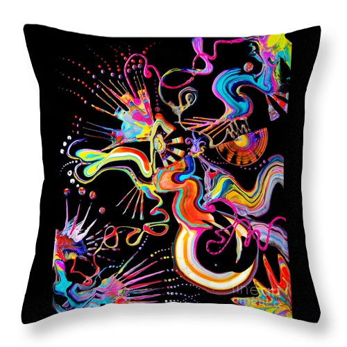 Fluid Etherial Flowing Exciting Vibrant Charming Compelling Fun Colorful Energetic Youthful Throw Pillow featuring the painting Secret Fairy Moon by Priscilla Batzell Expressionist Art Studio Gallery