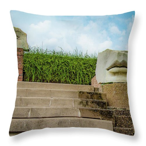 Abstract Sculptures Throw Pillow featuring the photograph See No Evil Speak No Evil by Lora J Wilson