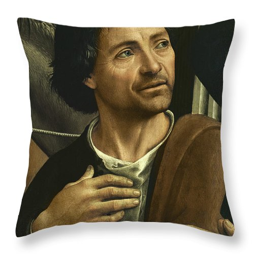 Male Throw Pillow featuring the painting Self Portrait Detail From Altarpiece by Domenico Ghirlandaio