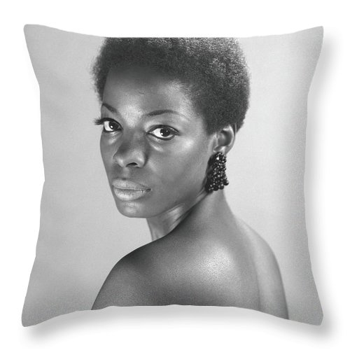 Looking Over Shoulder Throw Pillow featuring the photograph Semi Dress Woman Posing In Studio, B&w by George Marks