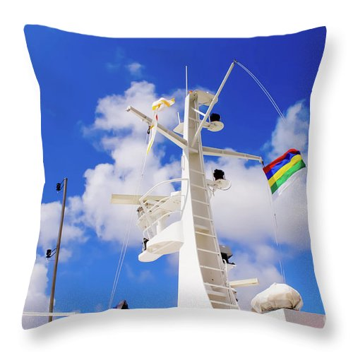 Radar Throw Pillow featuring the photograph Semi-large Ship's Radar Tower And Headlights. by Raymond De la Croix