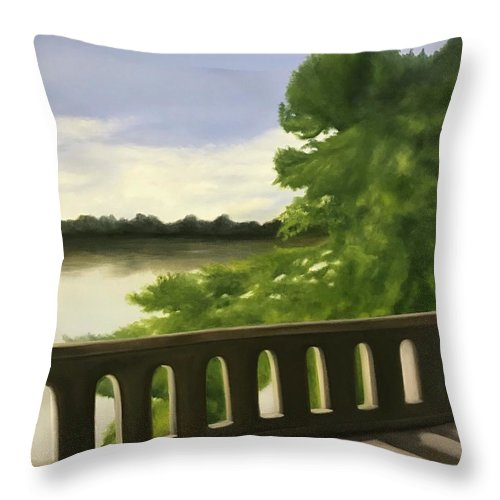 Bridge Throw Pillow featuring the painting Serenirty by Sheila Mashaw