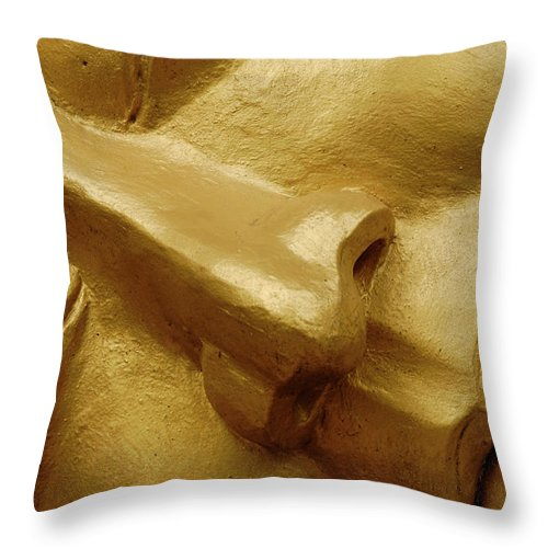 Chinese Culture Throw Pillow featuring the photograph Serenity In Buddha by T-immagini