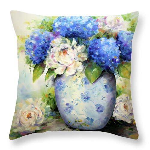 Flower Painting Throw Pillow featuring the painting Serenity by Laurie Pace