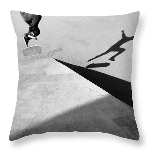 Shadow Throw Pillow featuring the photograph Shadow Of Skateboarder by Mgs