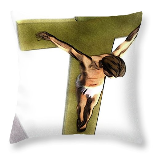 Jesus Throw Pillow featuring the painting Shadow Of The Cross by Pierre Blanchard