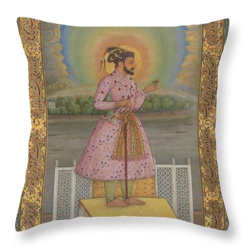 Indian Throw Pillow featuring the painting Shah Jahan On A Terrace by Chitarman