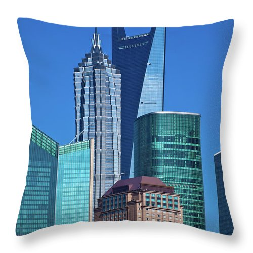 Chinese Culture Throw Pillow featuring the photograph Shanghai Landmark Building by Ithinksky