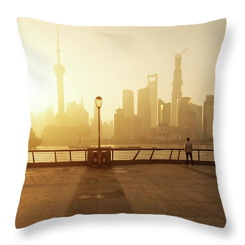 Tranquility Throw Pillow featuring the photograph Shanghai Sunrise At Bund With Skyline by Spreephoto.de