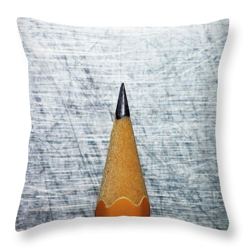 Sharp Throw Pillow featuring the photograph Sharpened Pencil On Stainless Steel by Ballyscanlon
