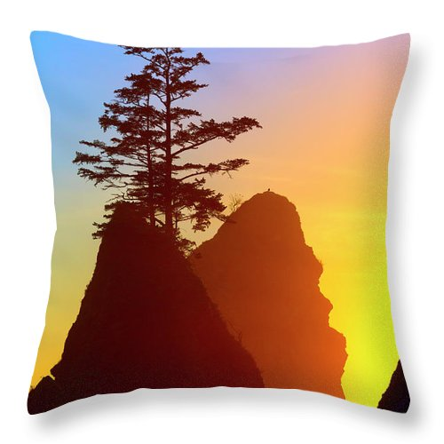 Shi Shi Beach Throw Pillow featuring the photograph Shi Shi Sea Stacks by Brian Knott Photography