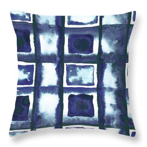 Shibori Throw Pillow featuring the mixed media Shibori Box Pattern II by Elizabeth Medley