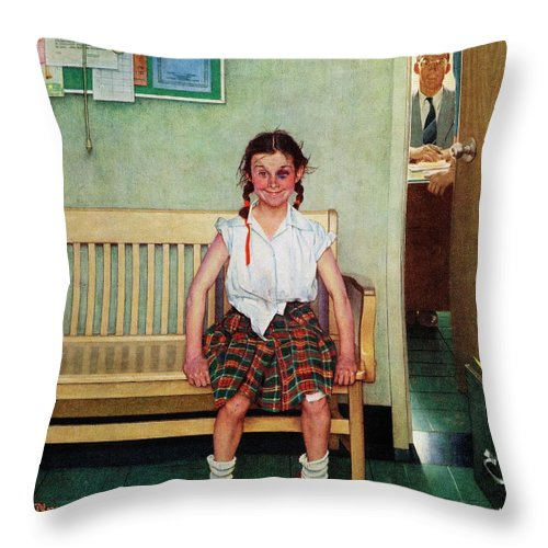 Black Eyes Throw Pillow featuring the drawing Shiner by Norman Rockwell