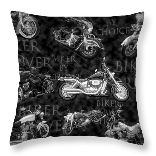 Indian Throw Pillow featuring the digital art Shiny Bikes Galore In Black And White by Debra and Dave Vanderlaan