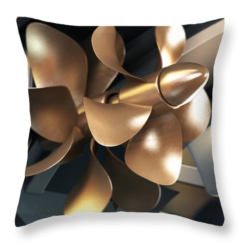 Engine Throw Pillow featuring the photograph Ship Propeller by Adventtr