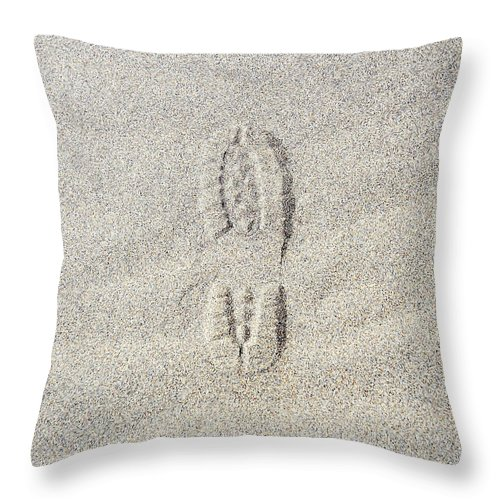 California Throw Pillow featuring the photograph Shoe Print In Sand by Thomas Northcut