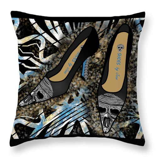 Fashion Throw Pillow featuring the drawing Shoes By Joan Skull Black Pumps by Joan Stratton