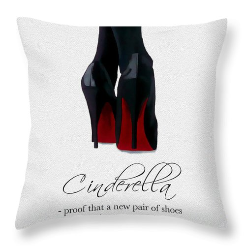 Christian Louboutin Throw Pillow featuring the mixed media Shoes Can Change Your Life by My Inspiration