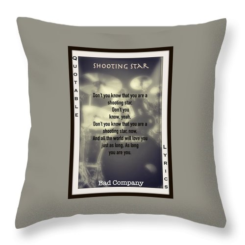 Bad Company Throw Pillow featuring the photograph Shooting Star by David Norman