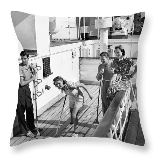 Heterosexual Couple Throw Pillow featuring the photograph Shuffleboard Players by George Marks