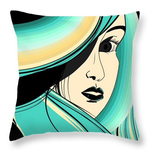 Teal Throw Pillow featuring the digital art Shy Girl by Hannah Coley