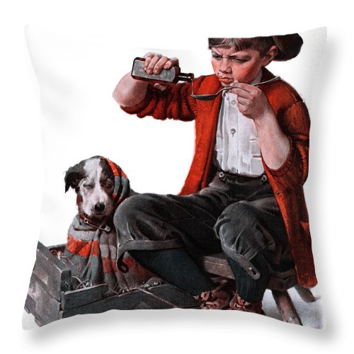 Boy Throw Pillow featuring the drawing Sick Puppy by Norman Rockwell
