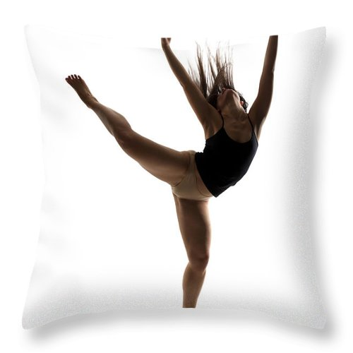 Ballet Dancer Throw Pillow featuring the photograph Silhouette Of A Performing Dancer by Opla