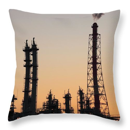 Built Structure Throw Pillow featuring the photograph Silhouette Of Petrochemical Plant by Hiro/amanaimagesrf