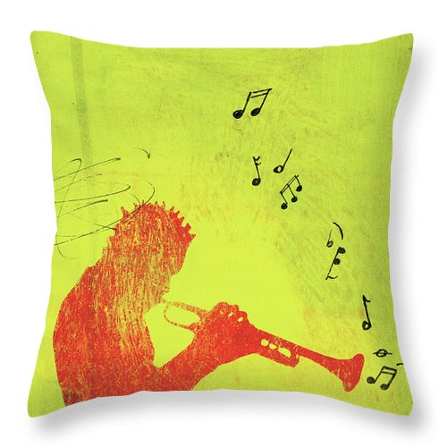 One Man Only Throw Pillow featuring the digital art Silhouette Of Trumpet Player by Darren Hopes