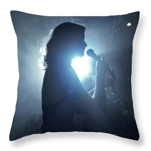 25-29 Years Throw Pillow featuring the photograph Silhouette Of Woman Using Microphone by Frank Herholdt