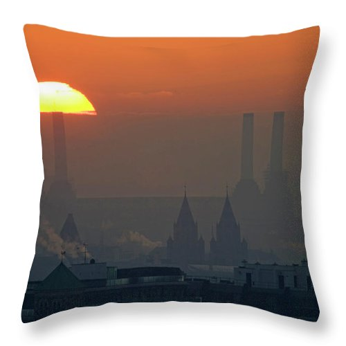 Tranquility Throw Pillow featuring the photograph Silhouettes Of Chimneys And Spires by James Burns