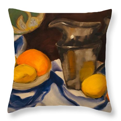 Still Life Throw Pillow featuring the painting Silver Pitcher by Angela Pierce