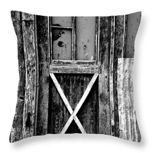 Black Color Throw Pillow featuring the photograph Sinclair Door by Herlordship