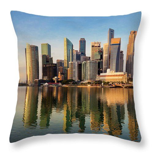Financial District Throw Pillow featuring the photograph Singapore Financial Skyline, Singapore by Travelpix Ltd