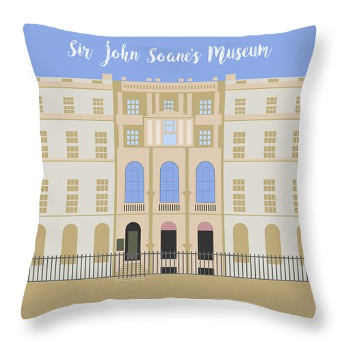 Blue Throw Pillow featuring the digital art Sir John Soane's Museum by Claire Huntley